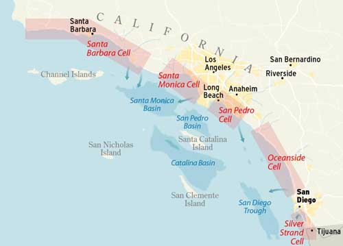 Map of 5 littoral cells in southern California - Santa Barbara, Santa Monica, San Pedro, Oceanside, and Silver Strand.